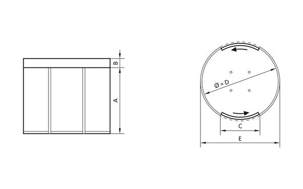 GU GSI_Rundschleuse_Ansichten Produkt-Zeichnung