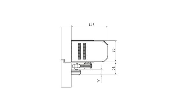 GU_Kopfmontage_BG_Gleitschiene Produkt-Zeichnung