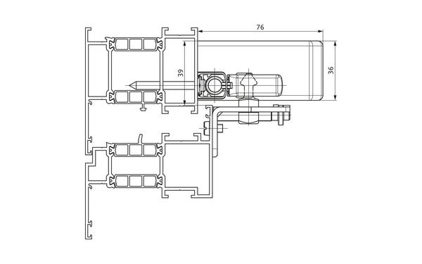 GU Oberlicht-Öffnungssystem VENTUS F 200 Schnitt_F200_8z5