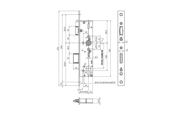 BKS B-18240-12-L-X_na00 Produkt-Zeichnung