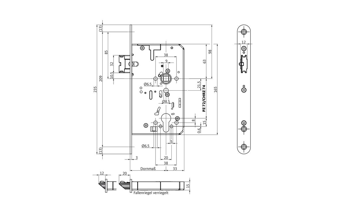 Elektrisch verriegeltes Panikschloss B-2116 EVP für einflügelige ...