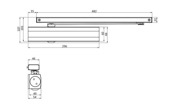 GU Abmessungen_OTS 634x_8z5 Produkt-Zeichnung