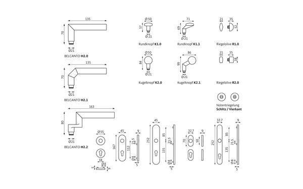 GU BELCANTO_WDL_Olive_Notentriegelung_Z_8z5 Produkt-Zeichnung