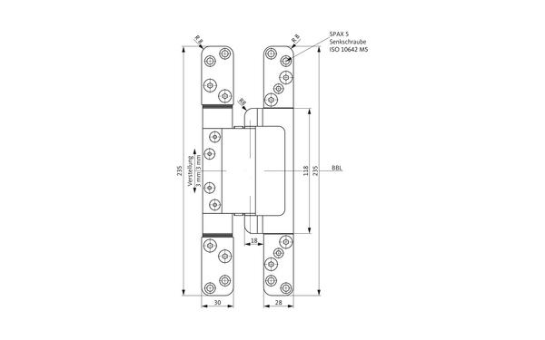GU C 616-18 FD 3D CONCEALED Verdeckt liegendes Band H-01816-00-0-X_na00 Produkt-Zeichnung