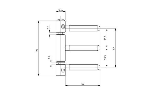 GU D 111-16 3D Einbohrband H-01725-00-L-X_na00 Produkt-Zeichnung