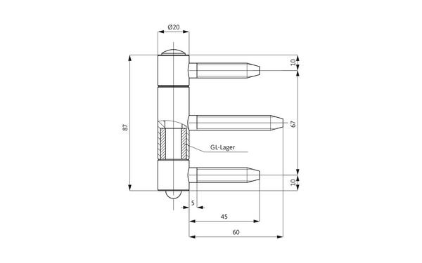 GU D 111-20 Einbohrband H-01672-00-0-X_na00 Produkt-Zeichnung
