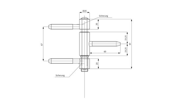 GU D 115-20 3D Einbohrband H-01724-00-L-X_na00 Produkt-Zeichnung