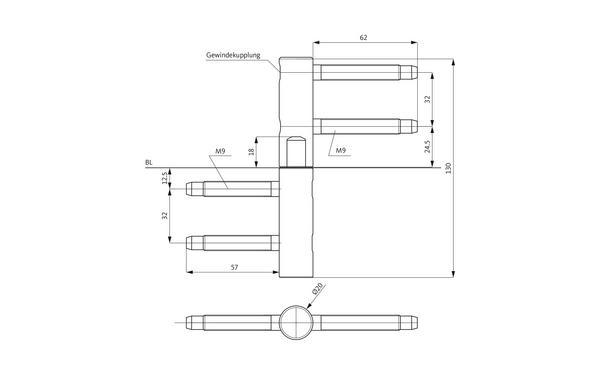GU D 215-20 3D Einbohrband H-01738-00-0-X_na00 Produkt-Zeichnung