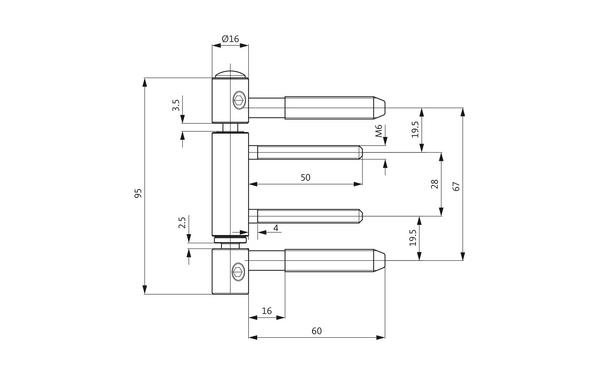 GU D 312-16 3D Einbohrband H-01700-00-L-X_na00 Produkt-Zeichnung