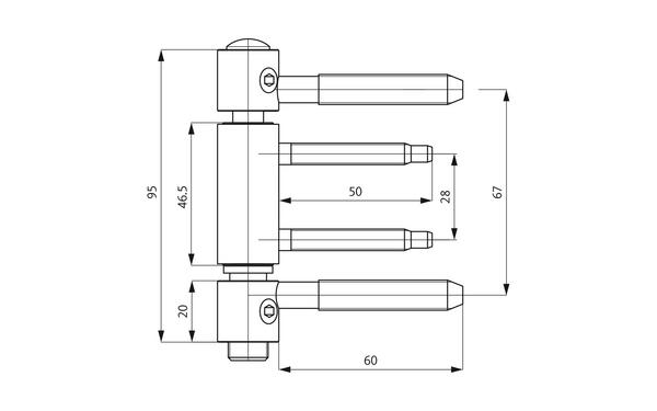 GU D 312-20 3D Einbohrband H-01701-00-L-X_na00 Produkt-Zeichnung