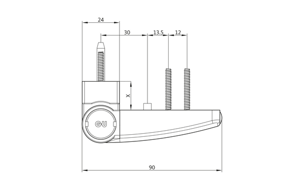 GU F 90 Aufschraubband H-01337-09-0-X_na00 Produkt-Zeichnung