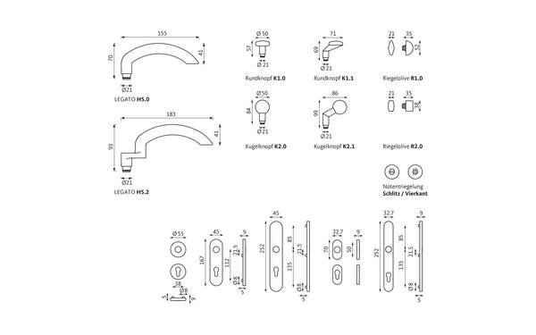 GU LEGATO_WDL_Olive_Notentriegelung_Z_8z5 Produkt-Zeichnung