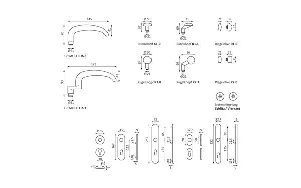 GU TREMOLO_WDL_Olive_Notentriegelung_Z_8z5 Produkt-Zeichnung